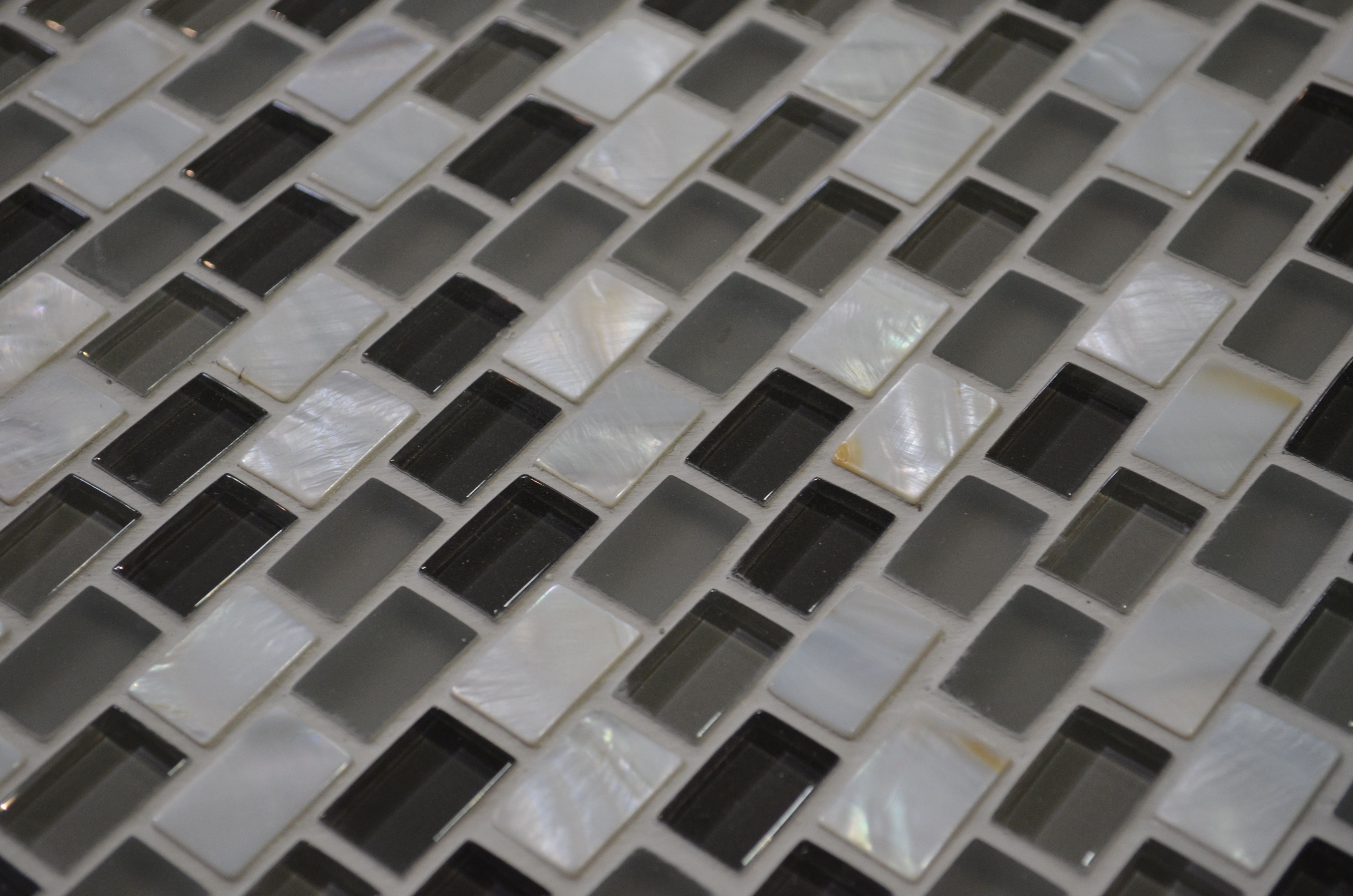 Grout Mosaic Tile Mother Of Pearl Glass Mosaic Makes For Sleek Kitchen Or