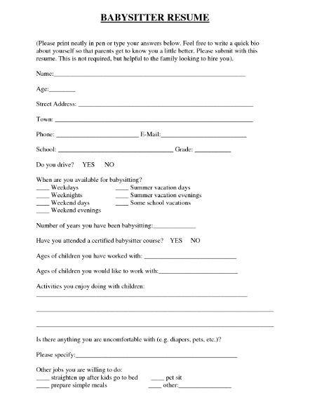 Babysitting Resume Template - http\/\/getresumetemplateinfo\/3472 - babysitter resumes