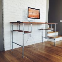 furniture-brown-varnished-wooden-computer-desk-with-chrome ...