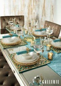 Turquoise + Gold ~ dining tablescape | Colour ~ Aqua ...