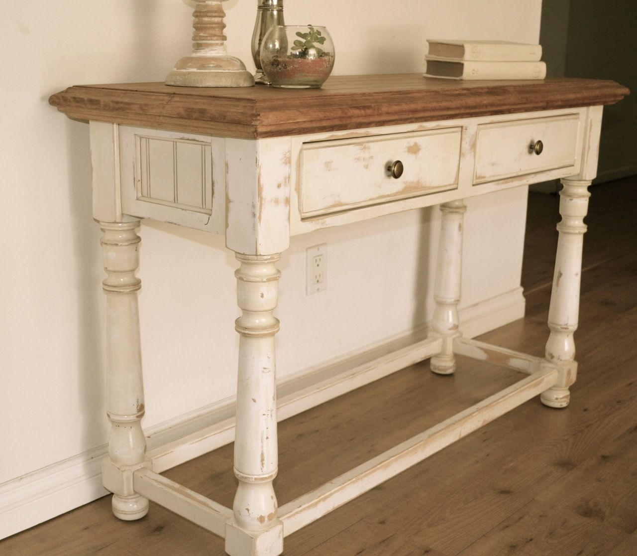 Farmhouse Console Table Farmhouse Style Console Table Distressed White Paint