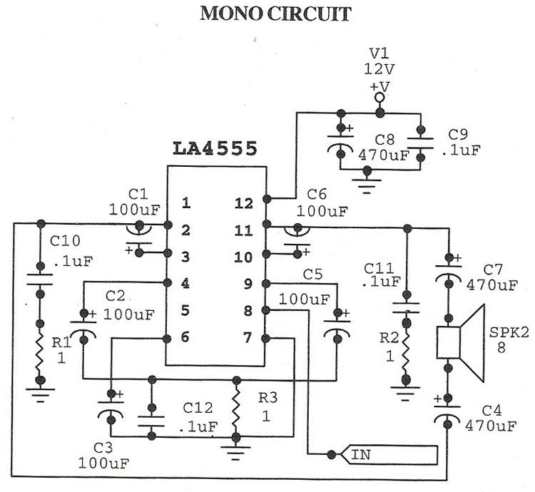 stereo audio amplifier with tda2616