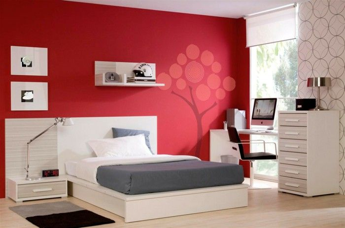Colour design bedroom decoration wall color red wall stickers wall - wall designs for bedroom