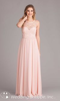 A sophisticated lace and chiffon bridesmaid dress with ...