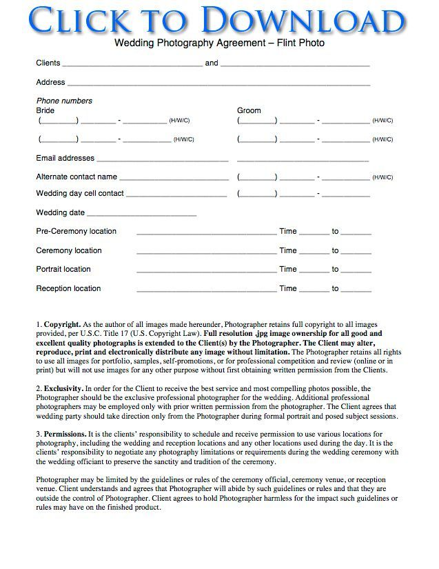 Free Printable Wedding Photography Contract Template Form (GENERIC - photography contracts