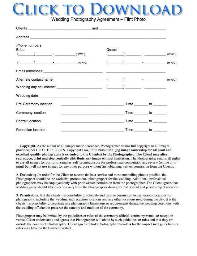 Printable Sample Wedding Photography Contract Template Form PDF - wedding contract template
