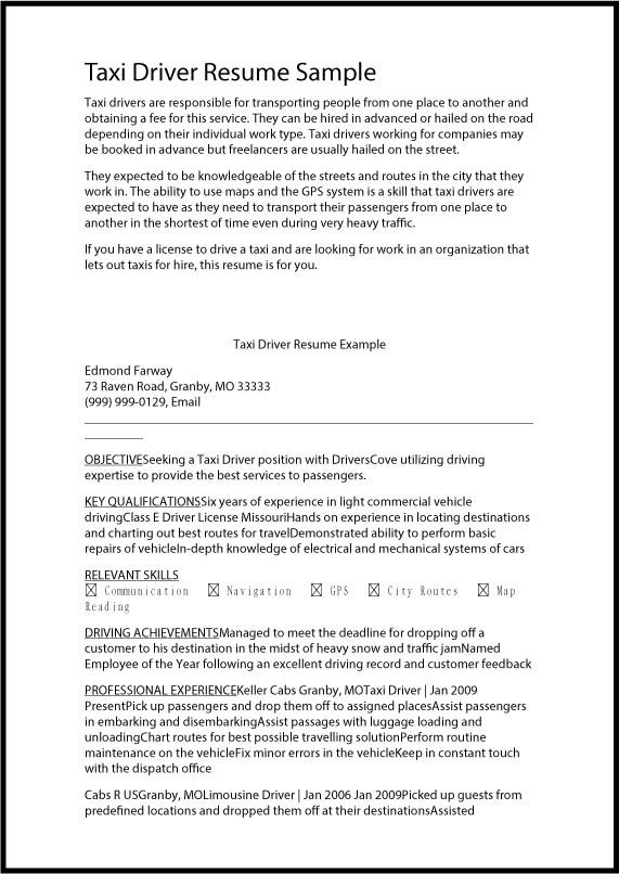 Taxi+Driver+Resume+Samplejpg (571×806) Resume ideas Pinterest - dispatcher resume sample