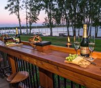 Bar extends length of Deck with pull out seating - River ...