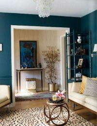 Moody Blue walls, cream furniture, cheetah carpet, cream ...
