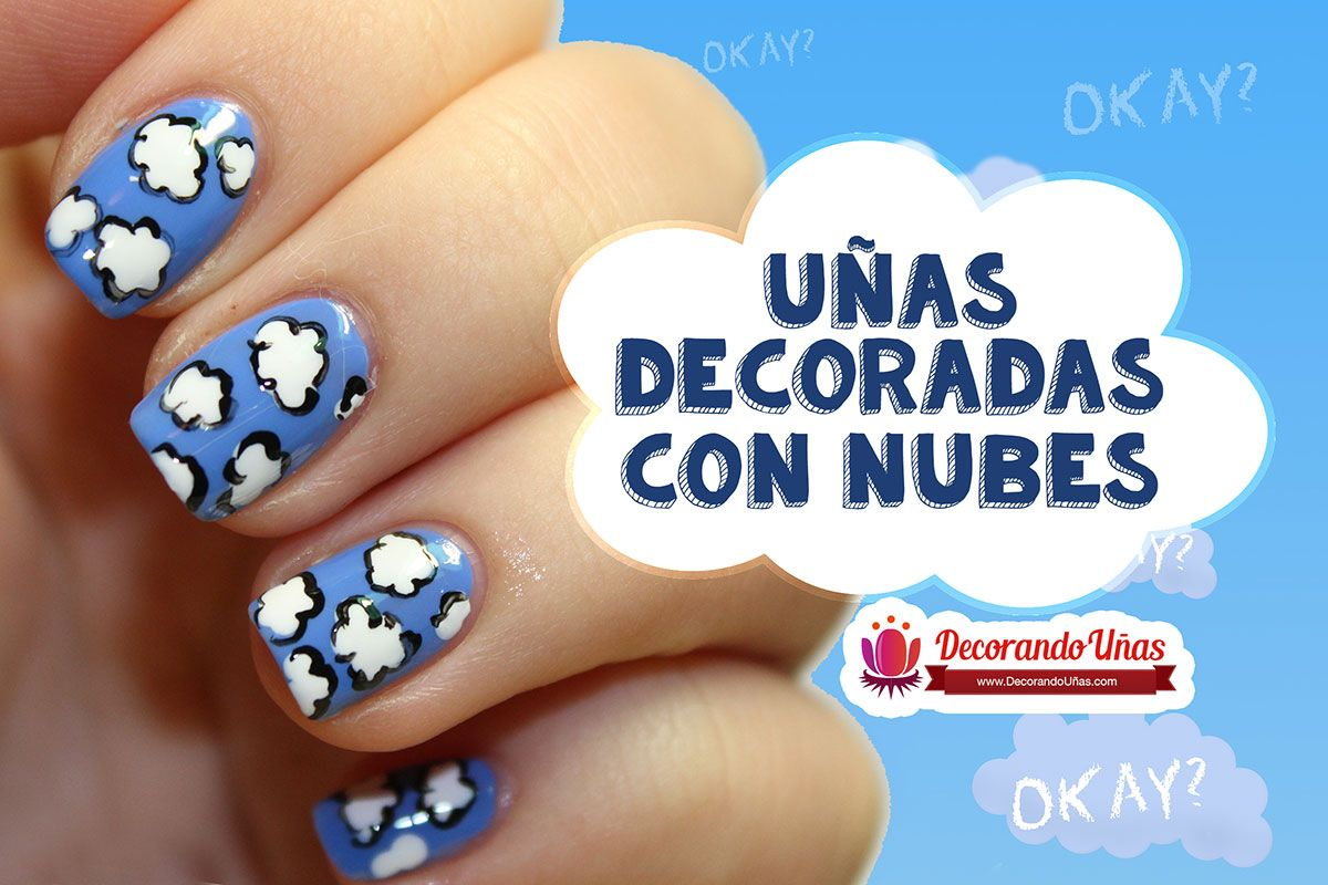 Uñas De Gel Decoradas Paso A Paso Uñas Decoradas Con Nubes Video Tutorial Paso A Paso