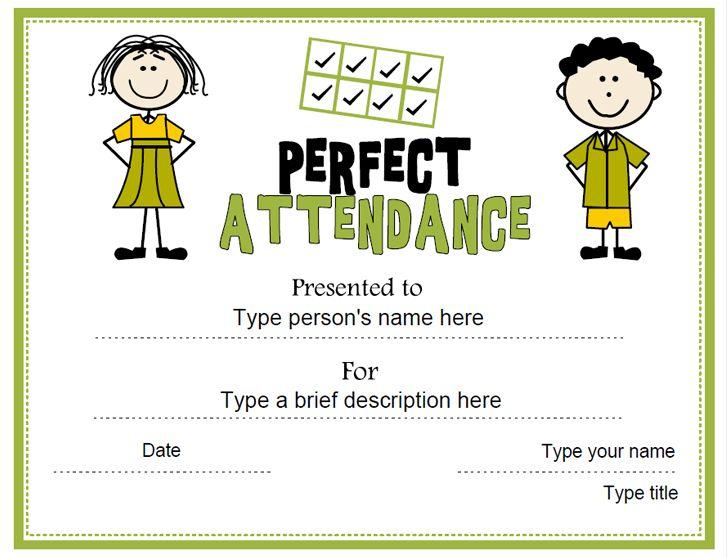 Education Certificate - Perfect Attendance Award - free printable perfect attendance certificate template