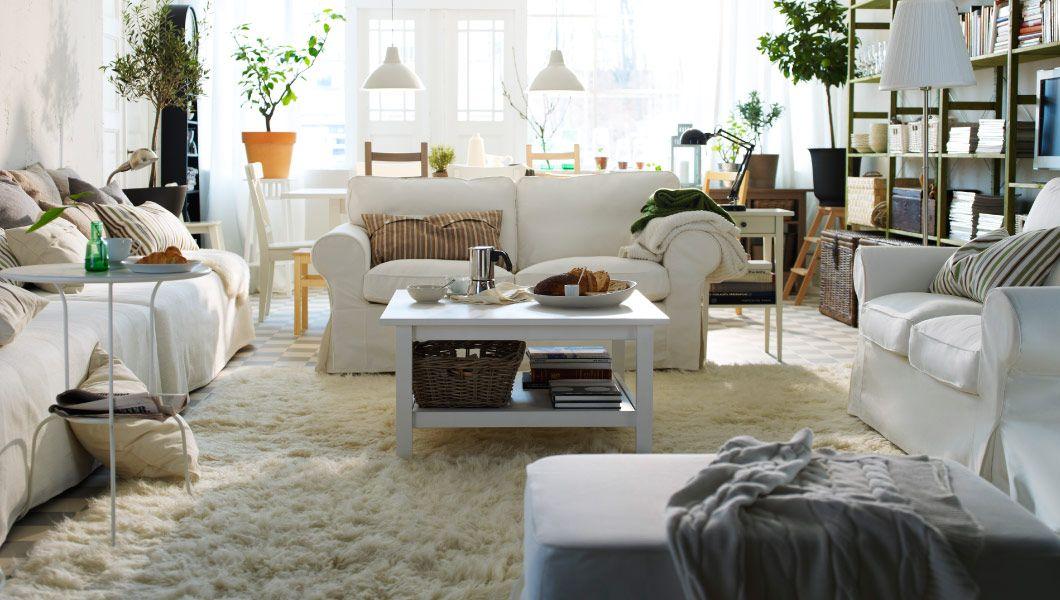 IKEA Österreich, Großer Wohnraum mit EKTORP 2er-Sofas und EKTORP - ikea wohnzimmer weis