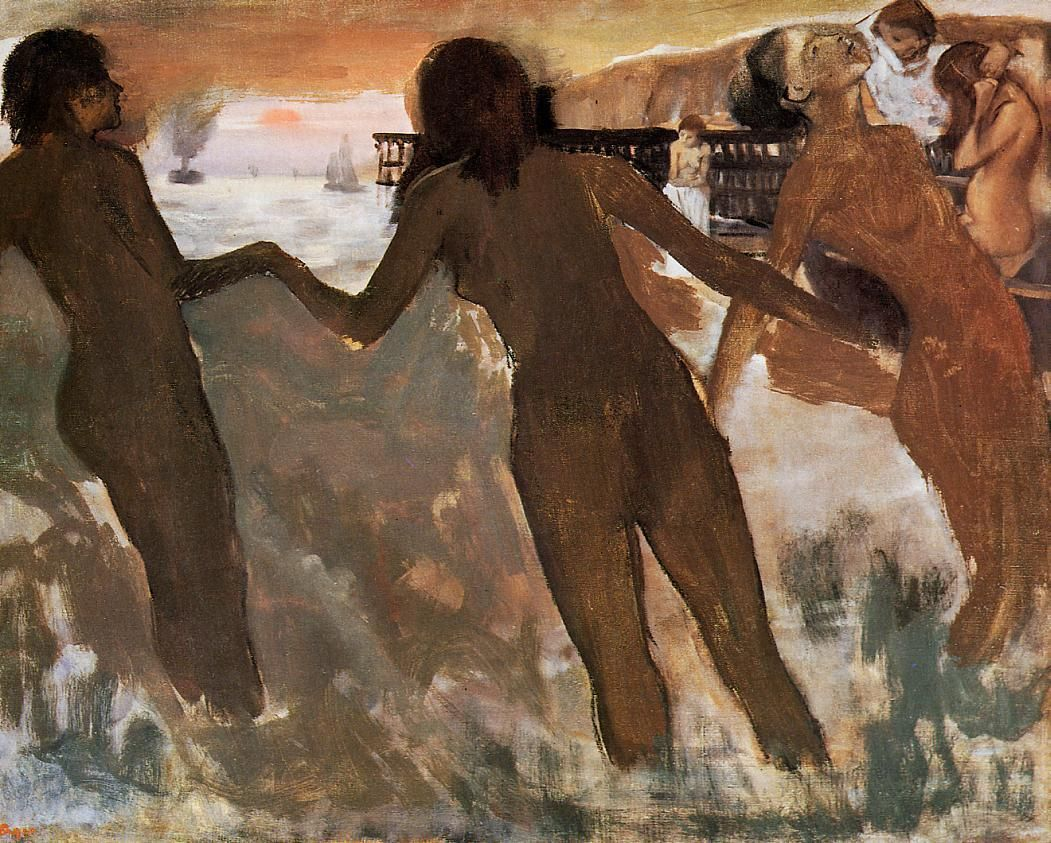 Pinturas Francesas Peasant Girls Bathing In The Sea At Dusk By Edgar Degas Medium