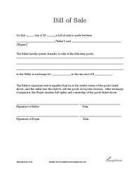 Basic Bill of Sale Form - Printable Blank Form Template ...