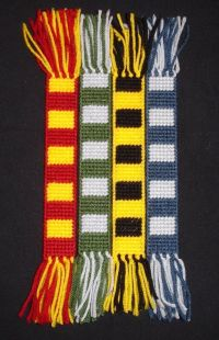 Harry Potter, Hogwarts House Scarf Bookmarks made from ...