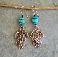 Turquoise Earrings Celtic Jewelry Handmade Copper Earrings ...