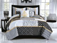 Elegant Black White Dot & Scroll Teen Girl Bedding Twin
