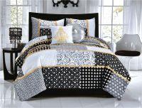 Elegant Black White Dot & Scroll Teen Girl Bedding Twin ...