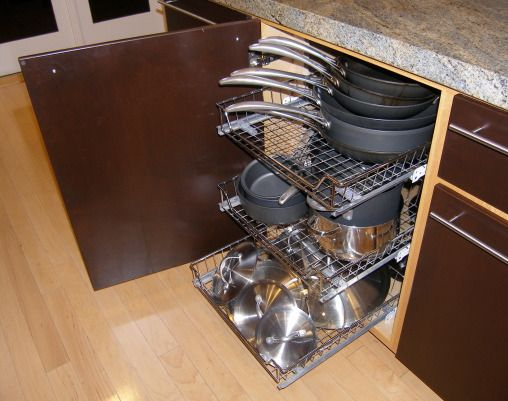 Roll Out Storage Racks Keep Cabinets Organized And Pots