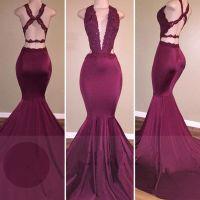 Low Cut Neckline Mermaid Prom Dress with Strappy | Prom ...