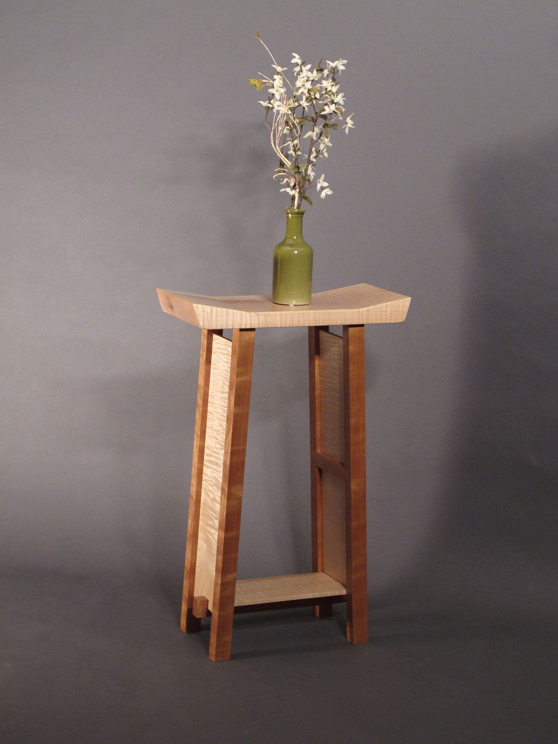 Small Narrow End Table Small Side Table Tiger Maple And Cherry Narrow End Table