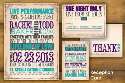Printable, Concert Poster Wedding Invitation and Reply ...