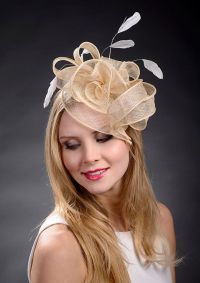 Beige champage gold fascinator hat for weddings Ascot ...