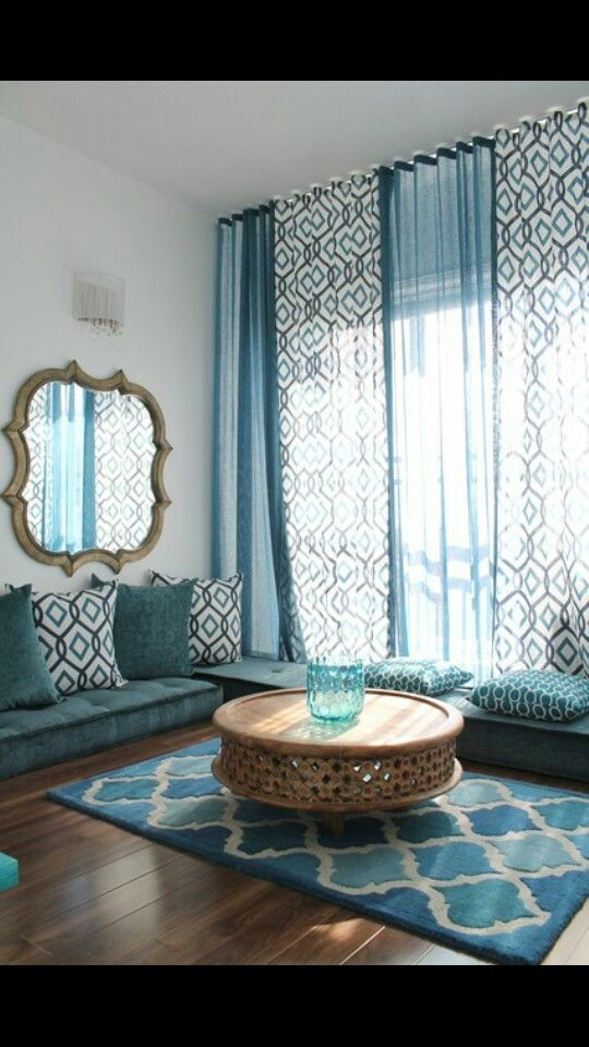 21 Ways to Make Your Living Room Seem Ginormous Blanket, Pillows - teal living room curtains