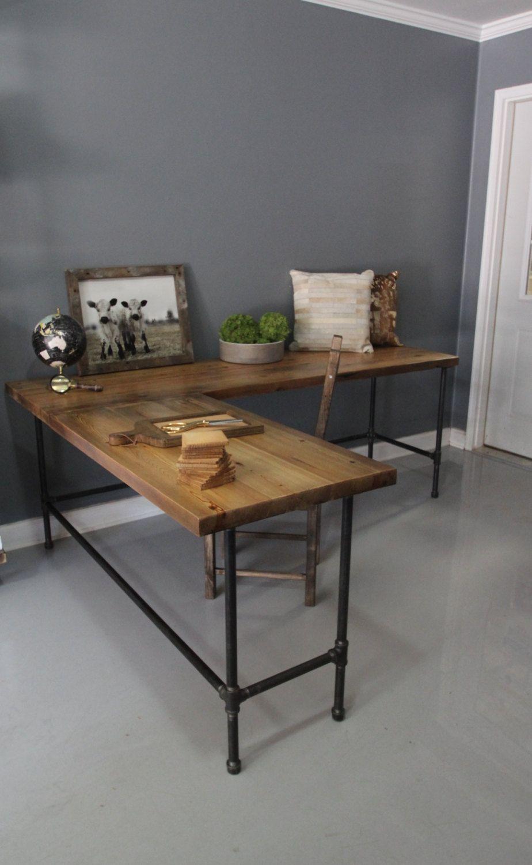 Industrial L Shaped Desk Wood Desk Pipe Desk Reclaimed by