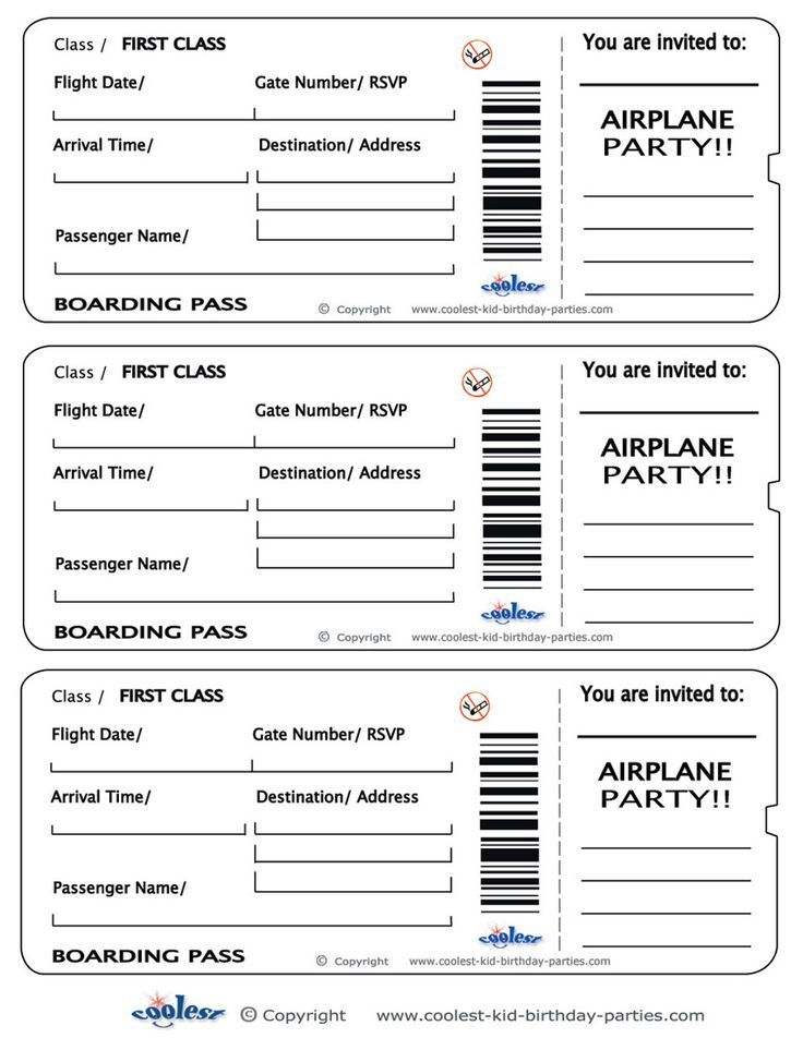 Printable Airplane Boarding Pass Invitations - Coolest Free - free ticket template printable