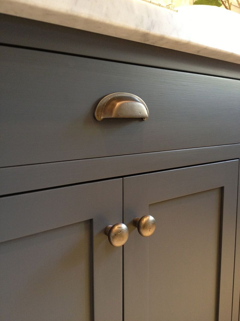 kitchen cabinet drawer pulls Kitchen cabinets Urbane Bronze by Sherwin Williams and antique brass hardware