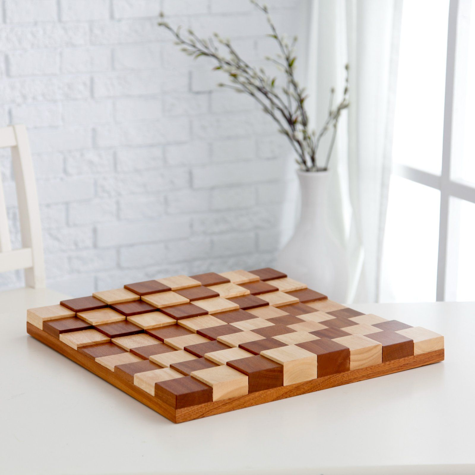 Diy Wood Chess Board 3d Tiered Solid Sapele Wood Chess Board Furniture