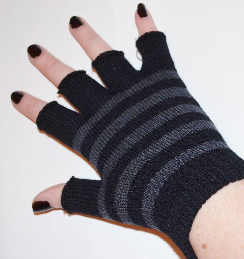Emo gloves grey and black striped short emo fingerless gloves