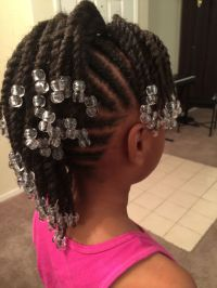 Simple cornrows, braids, little girl braids, black
