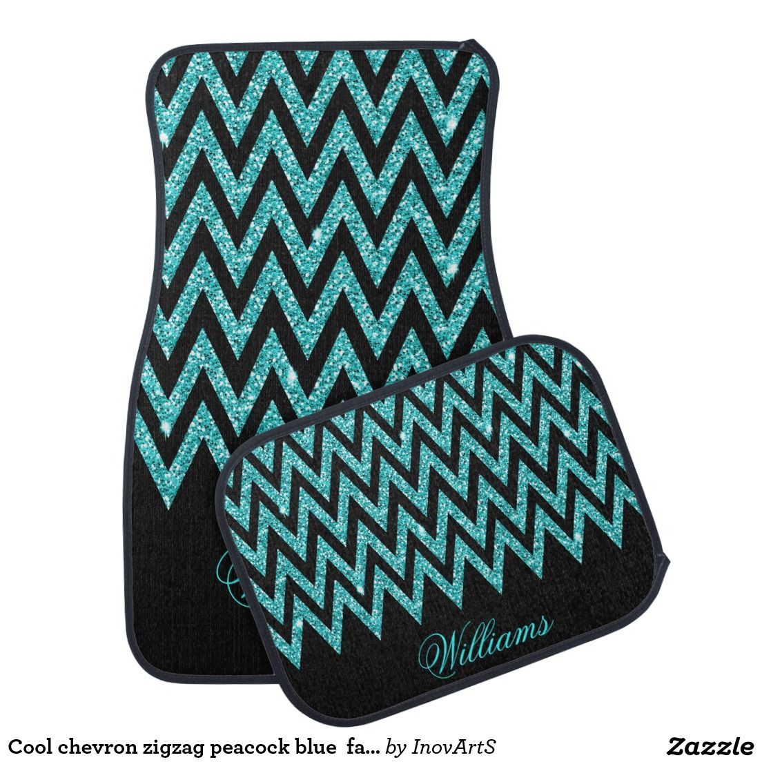 Cool chevron zigzag peacock blue faux glitter car floor mat