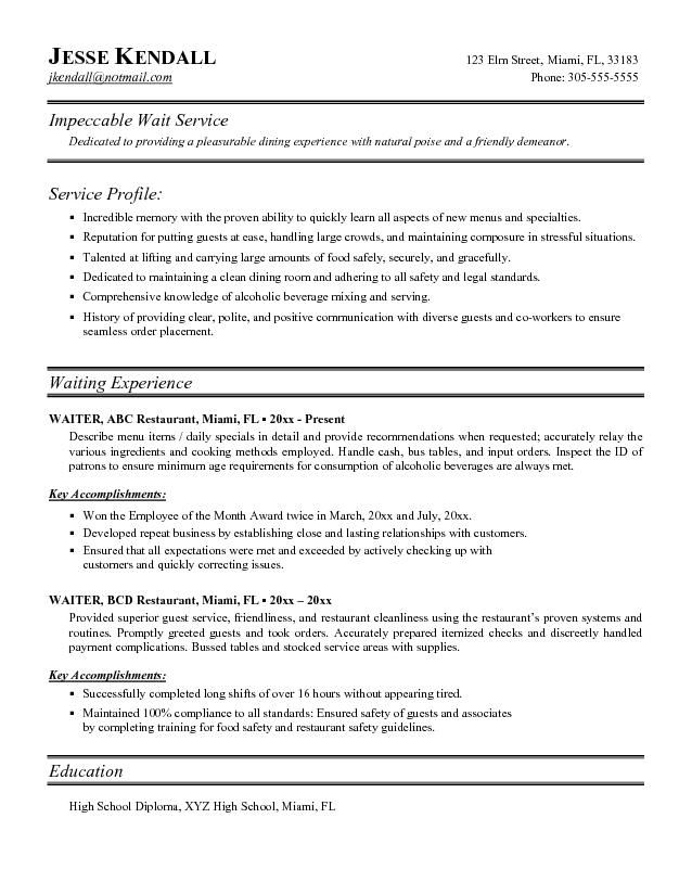 Waitress Resume Template Word - Waitress Resume Template Word we - restaurant skills resume