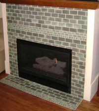 Green Brick Tile Fireplace Surround for Living Room ...