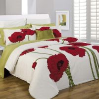 Grey And Lime Green Bedding | Daniadown Red Poppy Floral ...