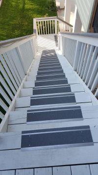 Metal indoor/outdoor stair treads make a wooden deck safer ...
