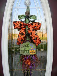 """Halloween Fall Door Broom Vertical Swag Decor...""""Trick or ..."""
