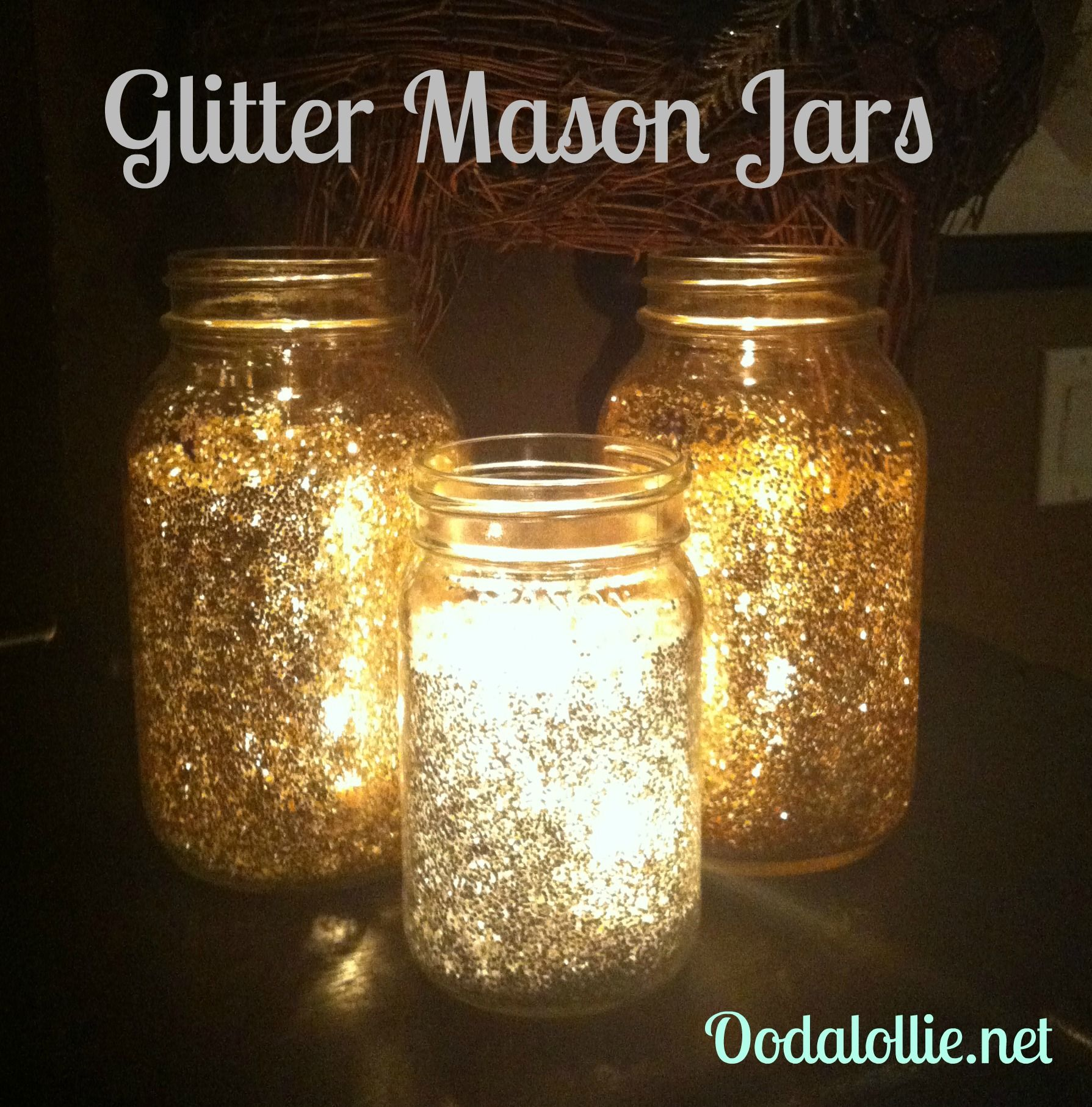 Candles With Gifts Inside Glitter Mason Jars Beautiful And Sparkly With A Candle
