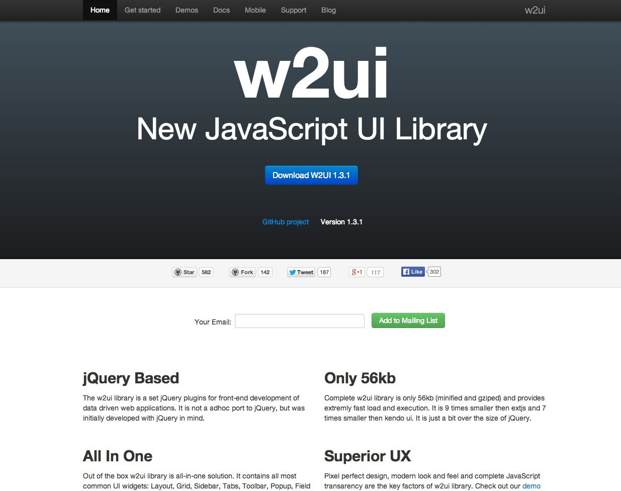 W2ui light weight jquery based plugins for front end development of data driven