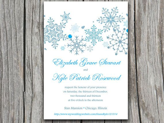 Snowflakes Wedding Invite Microsoft Word Template - Winter Wedding - microsoft templates invitations