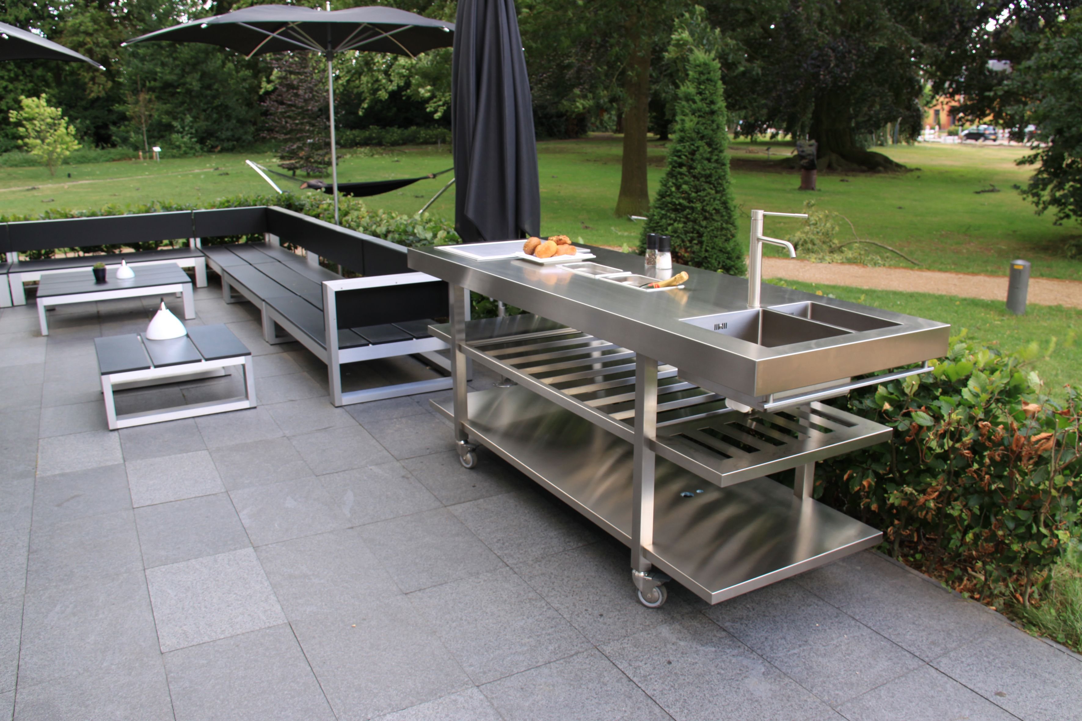 Outdoor Küche Inox Stainless Outdoor Kitchen With Teppanyaki And Sink By Abk