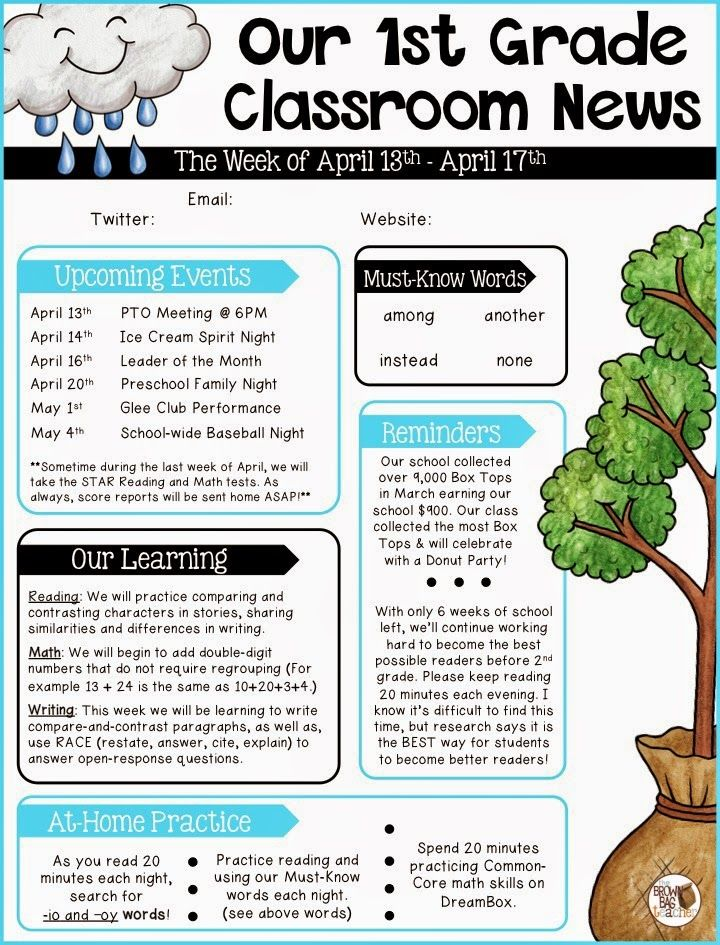 Editable Newsletter Templates Classroom newsletter, Classroom - school newsletter templates