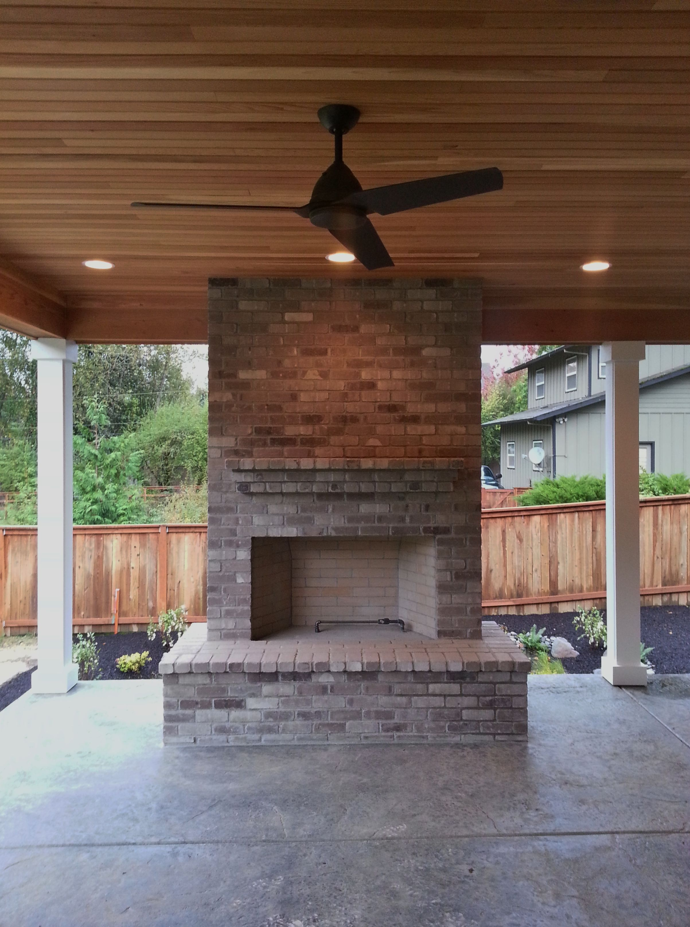 Fireplace And Patio Outdoor Fireplace Brick Gray Brick Outdoor Living