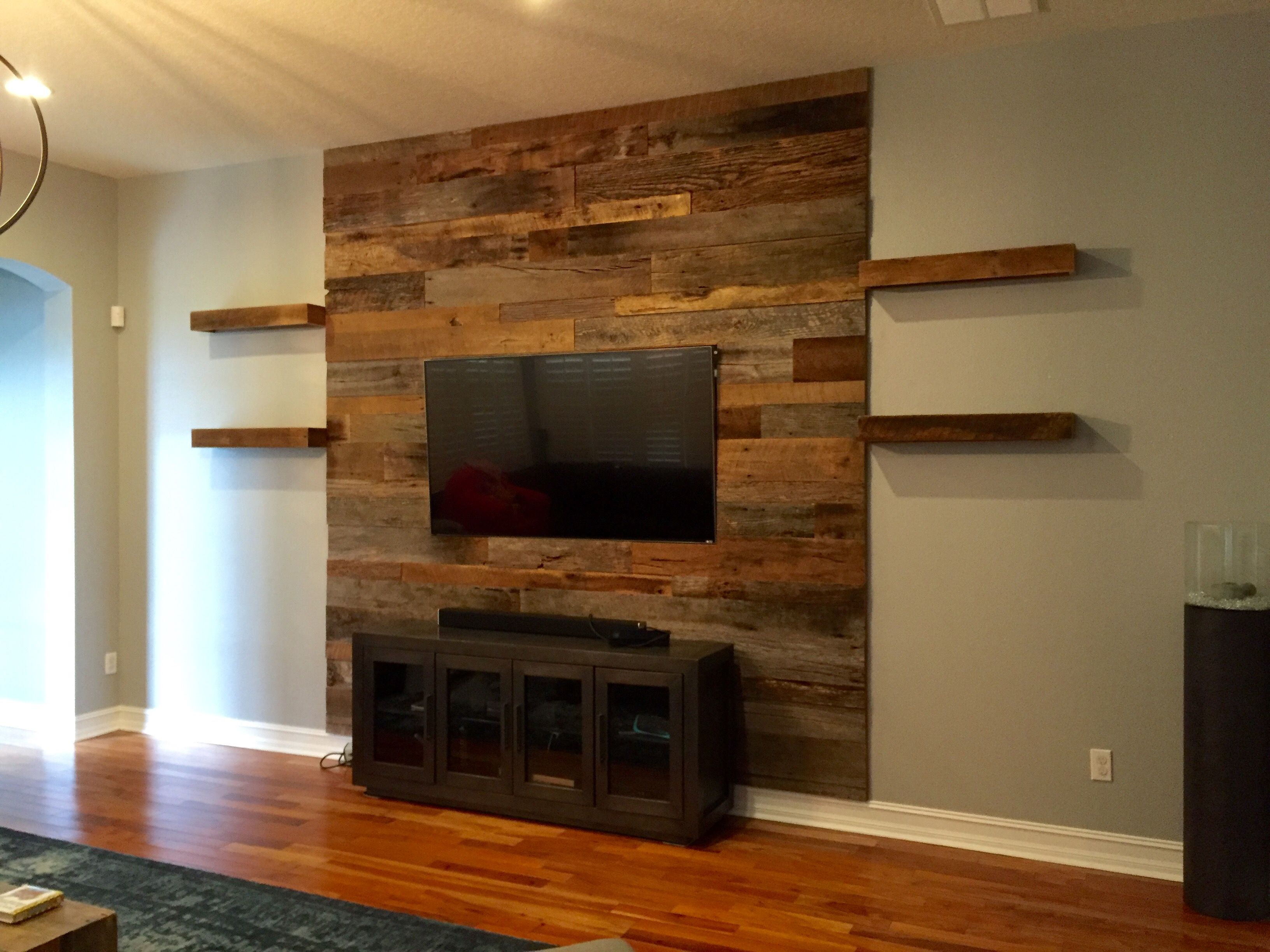 Peel And Stick 3d Wall Panels White Brick Wallpaper Trevor S Reclaimed Barn Wood Accent Wall With Shelving