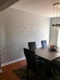 A DIY stenciled dining room accent wall using the Tea ...