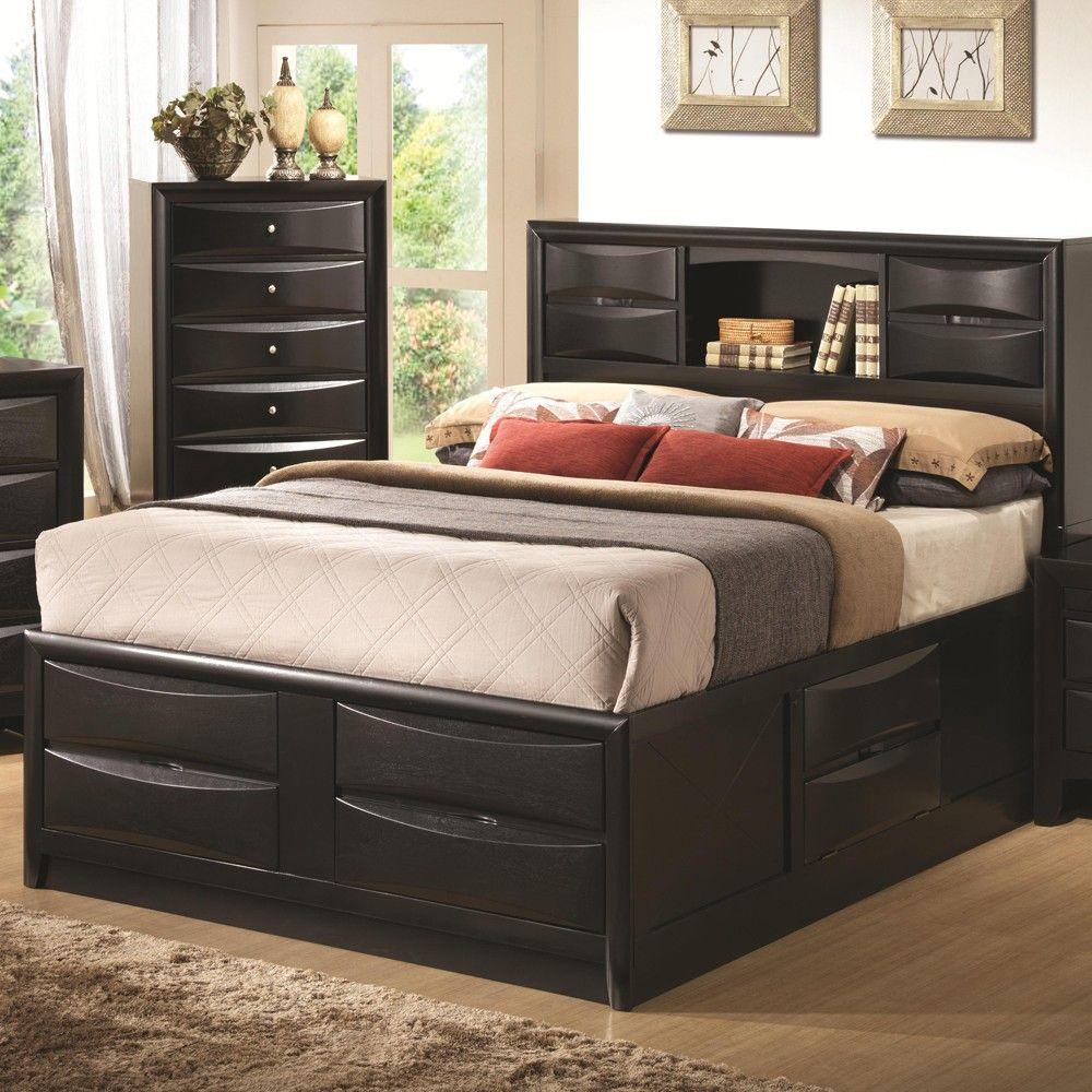 Comely bedroom with black wood storage drawers platform bed and wooden floor also modern black bookshelf