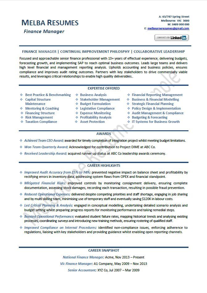 finance manager resume example template director sample samples - director of finance resume